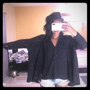 Free People Black Long Sleeve Over Sized Shirt